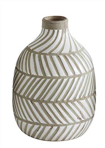 Medium White Herringbone Terra Cotta Vase - Set Of 2