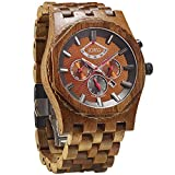 JORD Wooden Watches for Men - Sawyer Series Chronograph Automatic / Wood Watch Band / Wood Bezel / Self Winding Movement - Includes Wood Watch Box (Koa & Bronze)