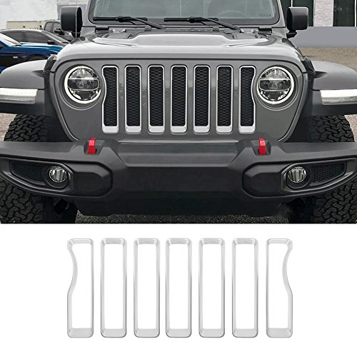 Silver Front Grille Inserts Covers Grill Trim for 2018 Jeep wrangler JL Sport/Sport S (Pack of 7)