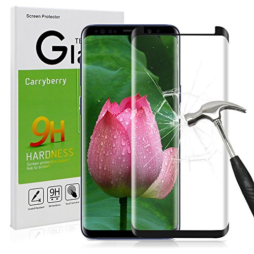 Galaxy S9 Screen Protector,S9 Tempered Glass,Carryberry Bubble-Free Anti-Scratch 3D Curved Screen Protector for S9.