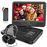 WONNIE 10.1 inch Portable DVD Player CD Player with Backpack & Earphone, Swivel Screen Remote Control 5 Hours Rechargeable Battery AC Adapter Car Charger, Mini DVD Player, Support USB/SD Slot (Black)