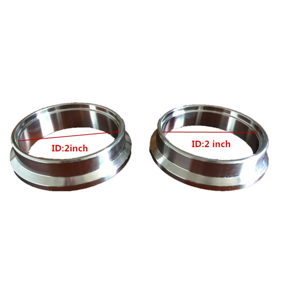 2 Self Aligning Male//Female V-Band Clamp CNC Stainless Steel Flange Kit