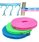 EVERSPORT 2PCS 5M Clotheslines Portable Adjustable For Indoor & Outdoor Laundry Drying, Perfect Windproof Clothes Rope Hanger for Camping Travelling & Home Using (Pack of 2:Random Color)