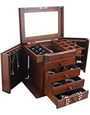 Extra Large White/Brown Wooden Jewellery Box Armoire Rings Storage Box 5 Layer 02