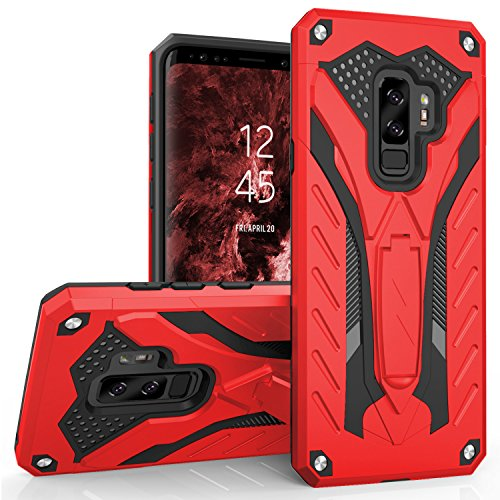 Zizo Static Series Compatible with Samsung Galaxy S9 Plus Case Military Grade Drop Tested with Built in Kickstand RED Black