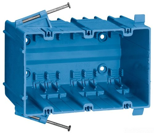 Carlon SN-357-FS Outlet Box, New Work, 3 Gang, 3-5/8-Inch Length by 5-13/16-Inch Width by 3-7/16-Inch Depth, Blue (BOX OF 20)
