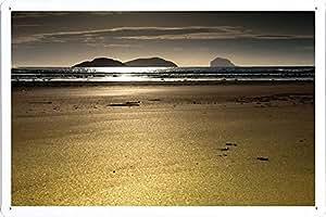 Metal cartel Cartel de chapa Hojalata sesión Sand Beach Sea Outflow Landscape 45900 Retro Vintage Pared Decoración by hamgaacaan (20x30cm)