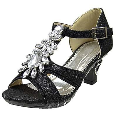 Amazon.com | Girls T-Strap Rhinestone Jewel Glitter