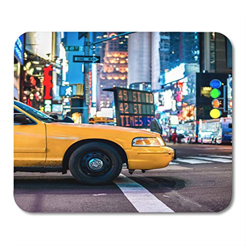 Emvency Mouse Pads Taxi Yellow Cabs in Manhattan NYC The Taxicabs of New York City at Night Time Street Mousepad 9.5