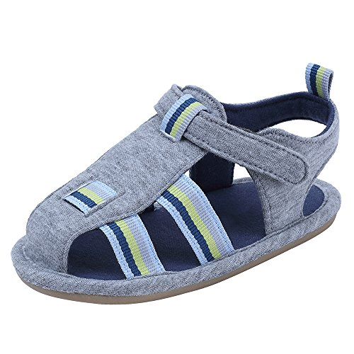 kuner Baby Boys and Girls Canvas Rubber sloe Outdoor Non-Slip Sandals First Walkers (14.5cm(18-24months), Grey)