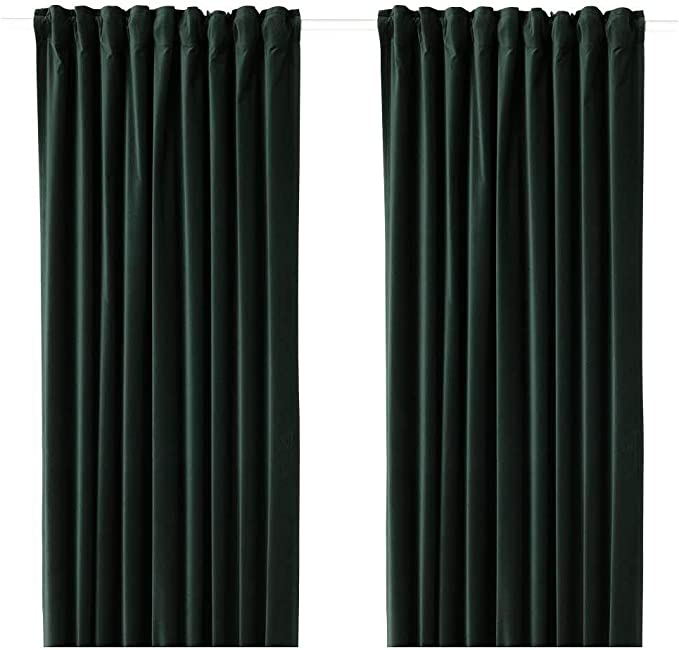 IKEA ASIA SANELA - Cortinas (1 par), Color Verde Oscuro: Amazon.es ...