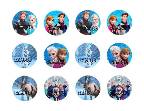 (DISNEY FROZEN CHARACTERS 2 INCH ROUND EDIBLE IMAGES CUPCAKE TOPPERS)