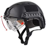 H World Shopping Tactical Airsoft Emerson Paintball Fast Helmet BJ Type with Protective Goggles Black
