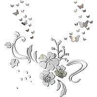 Pegatinas Decorativas Pared Espejo Vinilos Flores y 30pcs Mariposas Adhesivos Decoración DIY Hogar Habitación Dormitorio…