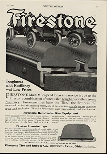 Firestone Automobile Tires 1915 Fascinating vintage advertisement print