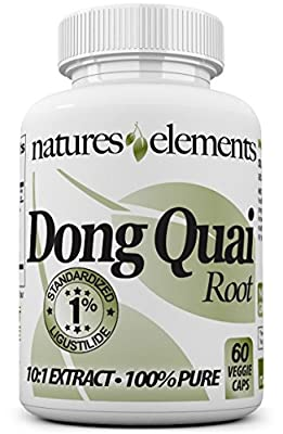 Natures Elements Dong Quai Root - Standardized 10:1 Extract - 1% Ligustilide - FREE GIFT WITH 3 BOTTLE PURCHASE! - Vegetarian Capsules - 1 Month Supply - 500mg Per Serving - (Angelica Sinensis)