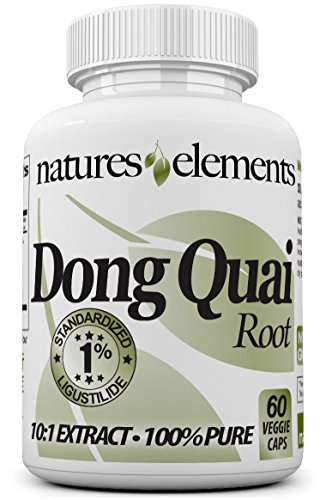 Natures Elements Dong Quai Root - Standardized 10:1 Extract - 1% Ligustilide - FREE GIFT WITH 3 BOTTLE PURCHASE! - Vegetarian Capsules - 1 Month Supply - 1000mg Per Serving - (Angelica Sinensis)