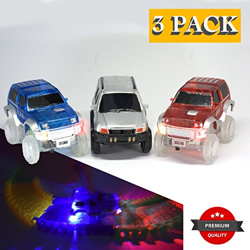 Light Up Replacement Track Race Car Toy   Racing Jeeps (3-Pack) with 3 LED Lights   For Independant and Track Play   Track Accessories Compatible with Most Tracks for Boys and Girls