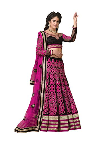 Dessa Collections Indian Designer Partywear Ethnic Traditional Pink & Black Lehenga Choli by Dessa Collections