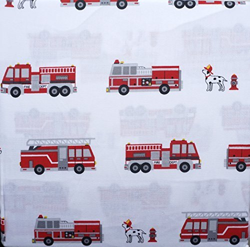 Boy Zone 4 Piece Full Sheet Set Red Fire Trucks Black White Dalmatian Dogs Hydrants