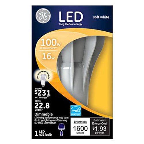 GE Lighting 13909 Energy-Smart LED 16-watt, 1600-Lumen A21 Bulb with Medium Base, Soft White, 1-Pack