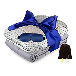 Weighted Blanket for Adults (15 lbs. | 60x80) - Premium Gravity Blanket INCLUDES Removable Minky Cover & Silky Sleep Mask - Great for Insomnia, Anxiety, Autism, ADHD - Start Sleeping Better TODAY! from Thrively5