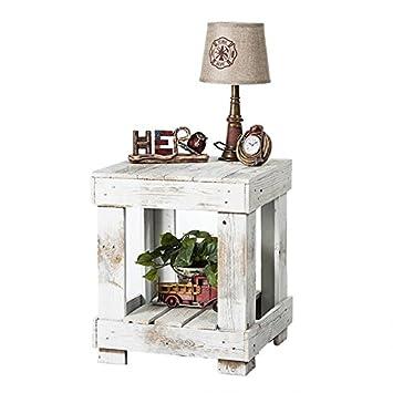 Del Hutson Designs – Rustic Barnwood End Table, USA Handmade Reclaimed Wood White