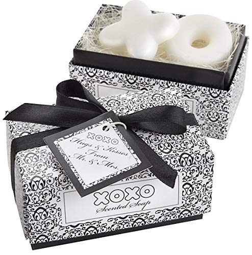 Kate Aspen Hugs & Kisses from Mr. and Mrs. Scented Soaps, Guest Gift/Party Favor for Weddings & Bridal Showers – 12 Sets