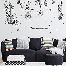 Black Birdcage Foliage Silhouette Sticker Living Room Sofa Background Hallway Decorative Wall Stickers PVC Waterproof Applique