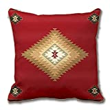 Southwest,Western Tribal Red Fabric Print Throw Pillow Case Decorative Cushion Cover Pillowcase Customize Gift for Car