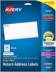 """Avery Address Labels with Sure Feed for Inkjet Printers, 0.5"""" x 1.75"""", 800 Labels, Permanent Adhesiv"""