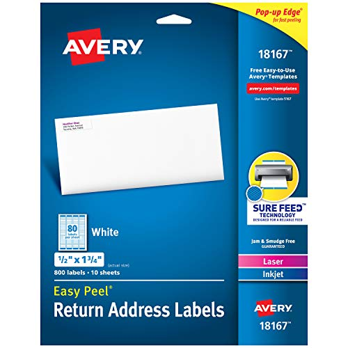 Rectangle Address Labels - Avery Address Labels with Sure Feed for Inkjet Printers, 0.5