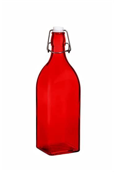 Amazoncom Colorful Reusable Glass Water Bottles With Swing Top