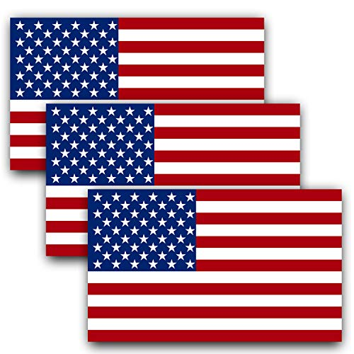 Anley 5 X 3 inch American US Flag Decal - Patriotic Stars Reflective Stripe USA Flag Car Stickers - Support US Military (3 Pack) ()