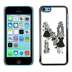 SoulCase / Apple Iphone 5C / Pretty Girl Mushroom / Delgado Negro Plástico caso cubierta Shell Armor Funda Case Cover