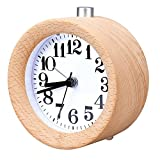 WAYCOM Classic Small Round Wood Grain Mute Table Alarm Clock with Nightlight