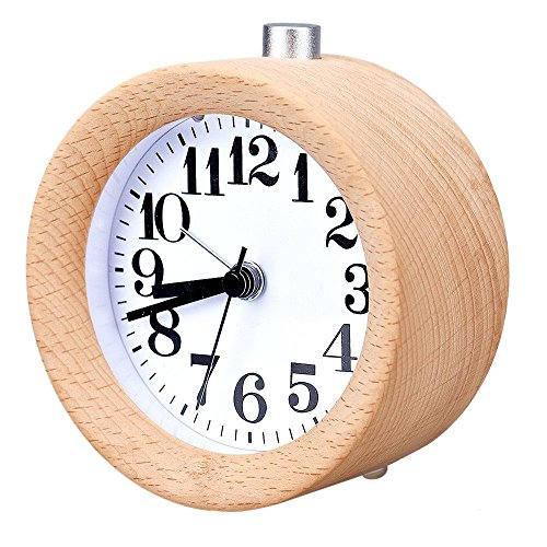 Bon WAYCOM Classic Small Round Wood Grain Mute Table Alarm Clock With Nightlight