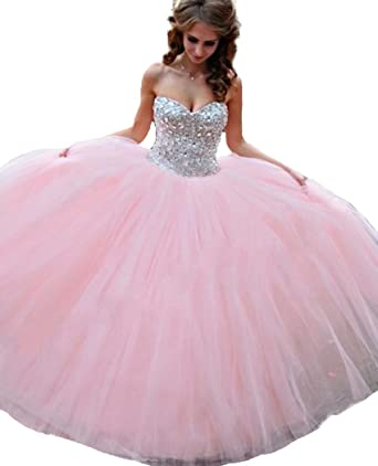 QiJunGe Womens Silver Beaded Bodice Ball Gown Prom Dress Sweet 15 Pageant Gowns Pink ...