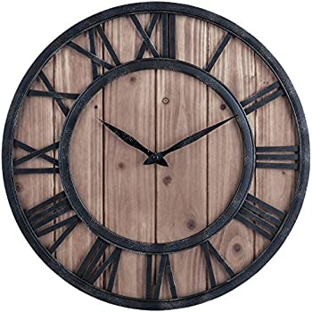 oldtown farmhouse rustic barn vintage bronze metal u0026 solid wood noiseless big oversized wall clock large 18inch