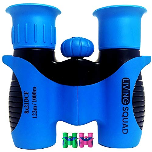 Living Squad Binoculars Kids 8x21 Shock Proof - High Resolution Compact Binoculars Set with Real Optics for Bird Watching, Hunting, Hiking - Birthday Present for Girls Boys, Outdoor Gift for Children