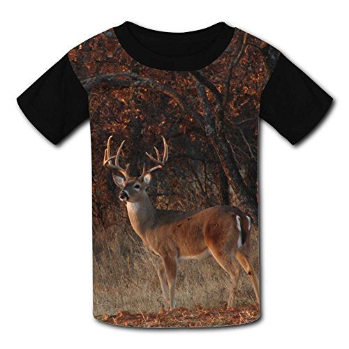 JRNFDKE Leisurely Deer Children's T-Shirts Short Sleeve Raglan Tee Shirt for Kids Boys Girls -