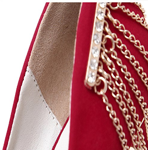 Sexy Ultra-hohe Metallkette Diamantdekoration Wildlederschuh Red