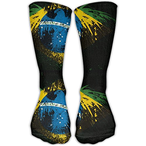 Brazil Shiny And Sparkly Flag Pics Compression Socks For Women & Men Control Crew Socks For Best Stockings,Running, Medical, Athletic, Edema, Varicose Veins, Travel