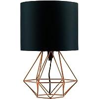 MiniSun – Koperen tafellamp in retro mand-stijl met zwarte stoffen kap – Kooilamp – Industriële tafellamp – Tafellamp…