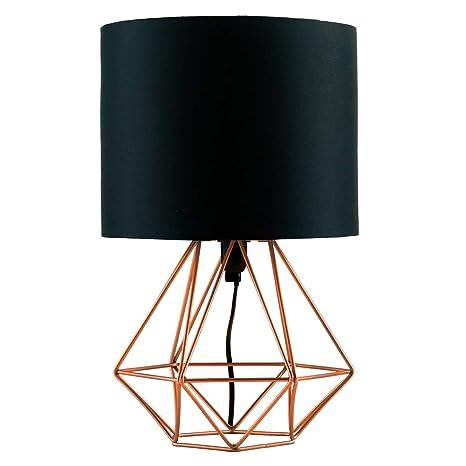 MiniSun - Moderna lámpara de mesa Angus - Con innovadora base de estilo jaula en cobre y pantalla negra [Clase de eficiencia energética A]