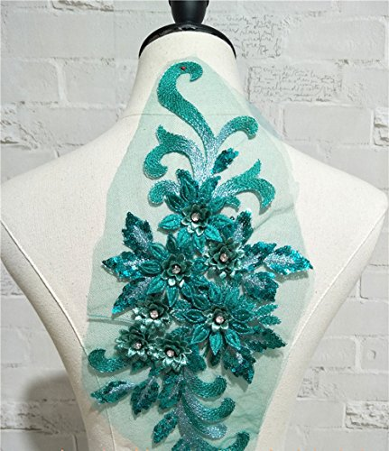 Exquisite 3D Flower Applique,Beaded,Sequined,Floral Patches Wedding Lace Appliques Motif Sew on Dress Gown 9 Colors Option (Green)