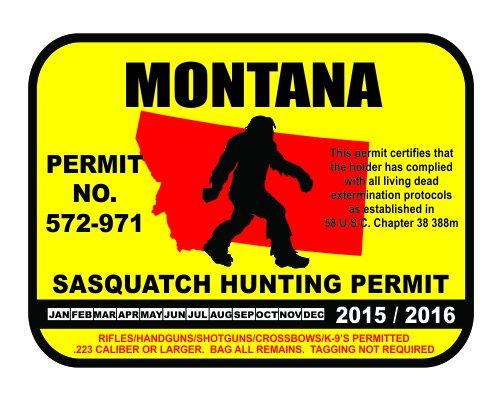 Montana Sasquatch Hunting Permit License Bigfoot Vinyl Sticker Decal