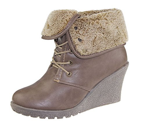 Womens Ankle Boots Ladies Fur Collar Winter Warm Trainer Sneaker Flat Shoes Khaki