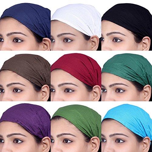 Sarjana Handicrafts Lot 10 Pieces Womens Mens Cotton Headband Hairband Bandana Wrap Band (Multicolored)