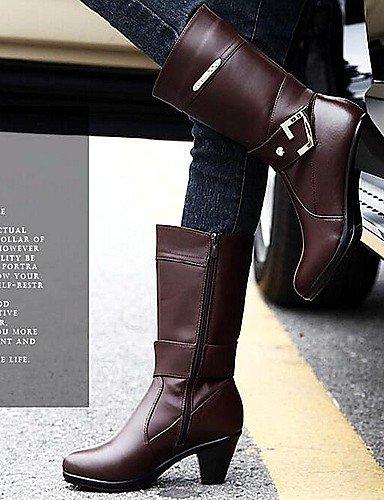 Botas Negro Brown us8 Cuero Cn40 Marrón Eu39 Moda Exterior Robusto Tacón De Uk6 Xzz Mujer 5 Zapatos A Casual 5 La x6S177X